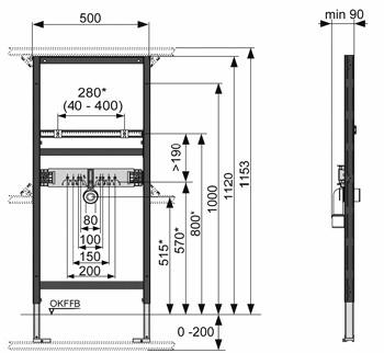 tece waschtischmodul f r einlochbatterie h he 112 cm mit bausatz vorwandmontage ebay. Black Bedroom Furniture Sets. Home Design Ideas
