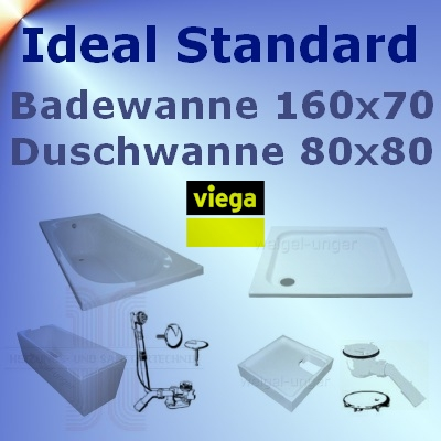 ideal standard badewanne 160x70 duschwanne 80x80 idsv14 ebay. Black Bedroom Furniture Sets. Home Design Ideas