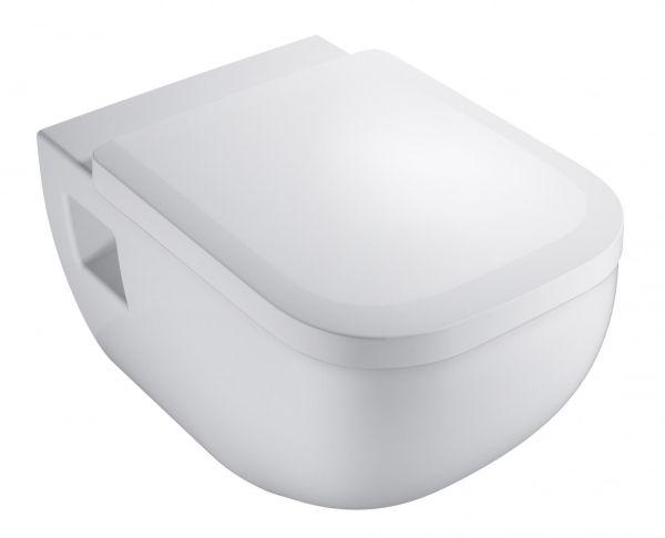VIGOUR Wand-Tiefspül-WC Set derby spülrandlos, mit WC-Sitz abnehmbar, sichtbare Befestigung - Bild 1
