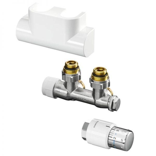 Multiblock-T-Anschluss-Set, Eckform weiß, mit Thermostatkopf Uni SH, für Badheizkörper - Bild 1