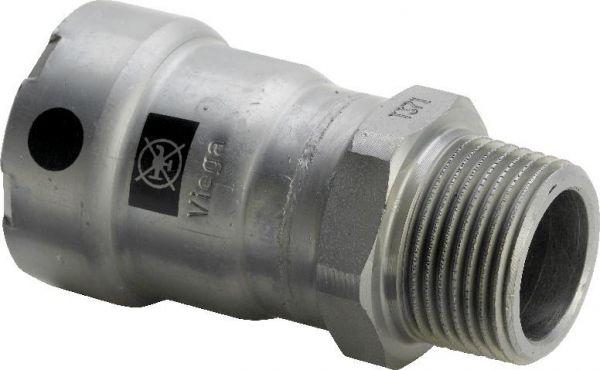 Viega Megapress Übergangsstück DN 40 x 1 1/2'' AG Modell 4211, Stahl unlegiert, Zink-Nickel 695316 - Bild 1