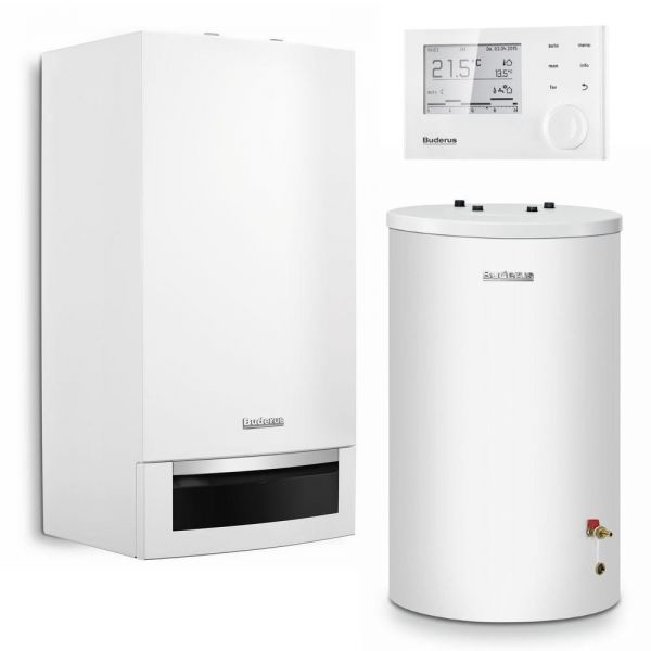 Buderus Logaplus-Paket W22 Gas-Brennwerttherme GB172-14 kW weiß EG-E RC310 Speicher S120 - Bild 6