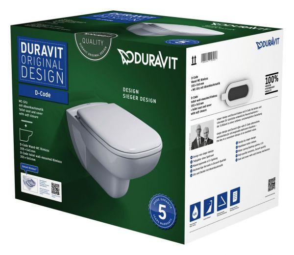 Duravit Wand-WC Set D-Code, rimless, TS,weiß, inkl. WC-Sitz mit Absenkautomatik - Bild 1
