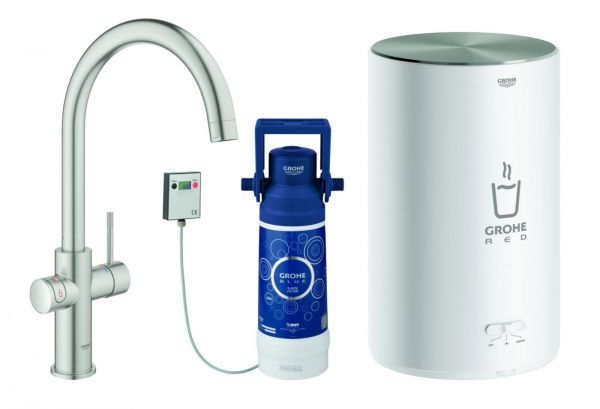 GROHE Küchenarmatur und Boiler Red Duo M-Size C-Auslauf supersteel 30083DC1 - Bild 1