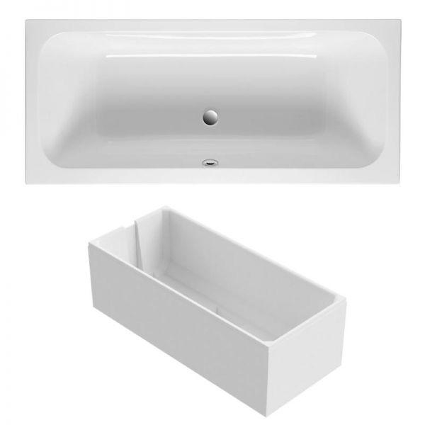 Duo-Badewanne 180x80 cm aus Sanitär-Acryl weiß inklusive Styropor-Wannenträger - Bild 1