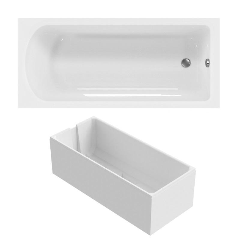 Badewanne 180x80 cm Körperform aus Sanitär-Acryl weiß inklusive Styroporträger