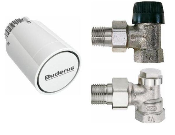 Buderus Logatrend-K/A Zubehörpaket Eckform, mit Thermostatkopf M30x1,5mm, Nullstellung - Bild 1