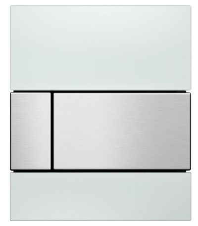 TECEsquare Glas Urinal-Betätigungsplatte weiss, Tasten Edelstahloptik gebürstet 9242801 - Bild 1
