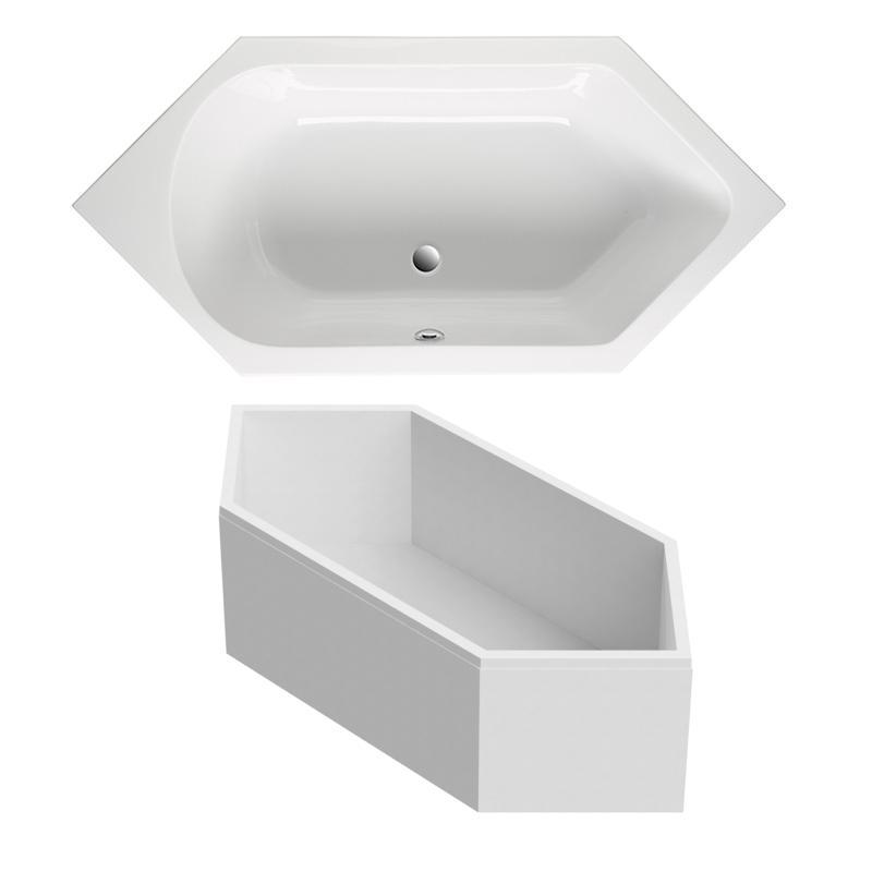 Sechseck badewanne 190x90 cm aus sanit r acryl wei for Sechseck badewanne 190x90