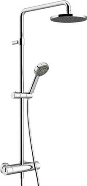 Nikles Duschsystem Techno mit Thermostat, Kopfbrause 200mm, Handbrause Techno 95, verchromt - Bild 1