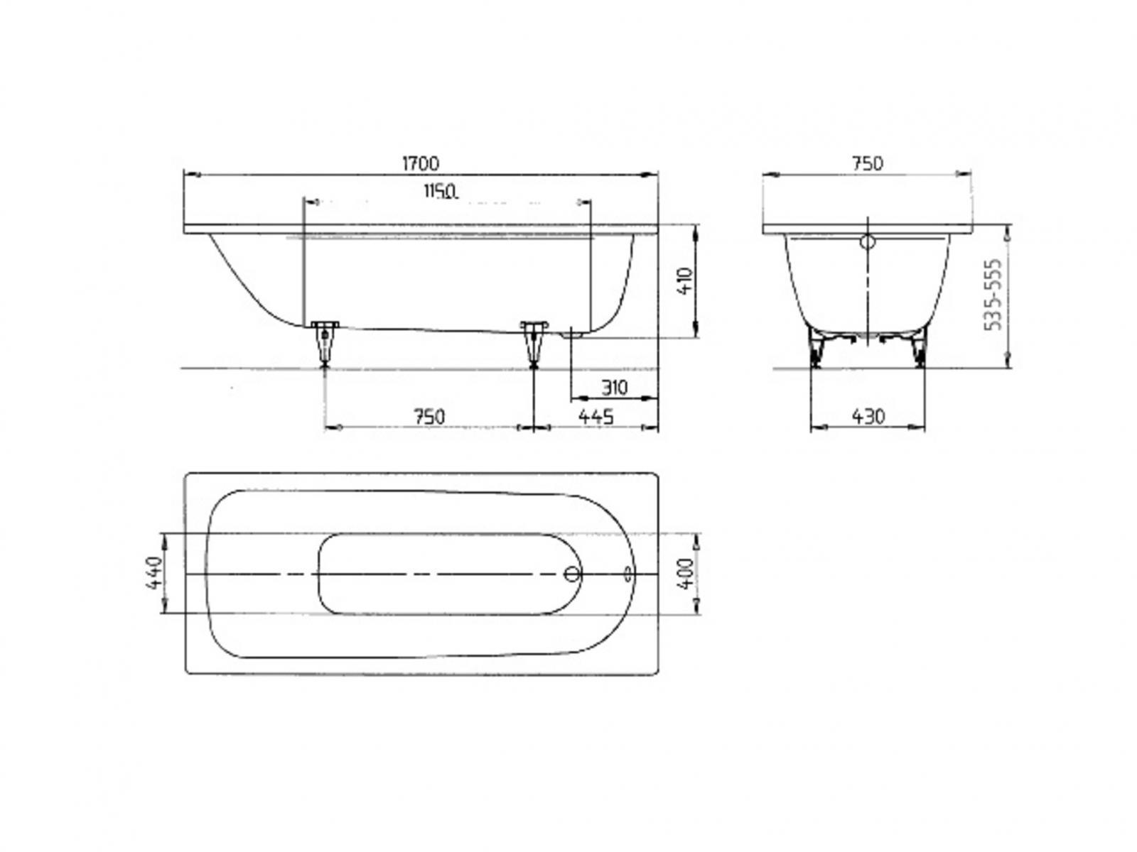 Sehr Kaldewei Saniform Plus Badewanne 170x75 cm Modell 373-1 Stahl LO53
