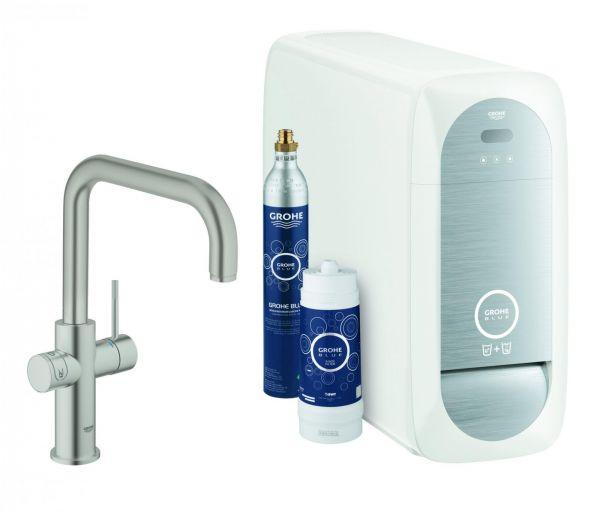 GROHE Blue Home Starter-Kit Küchenarmatur Bluetooth/WIFI U-Auslauf supersteel 31456DC1 - Bild 1