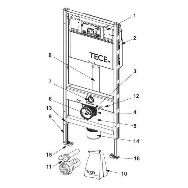 TECE WC-Ablaufbogenhalter für TECE Spülkasten 9.820.041 - Bild 1