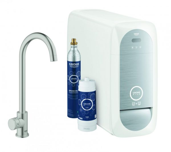GROHE Blue Home Mono Starter-Kit Küchenarmatur Bluetooth/WIFI C-Auslauf supersteel 31498DC1 - Bild 1