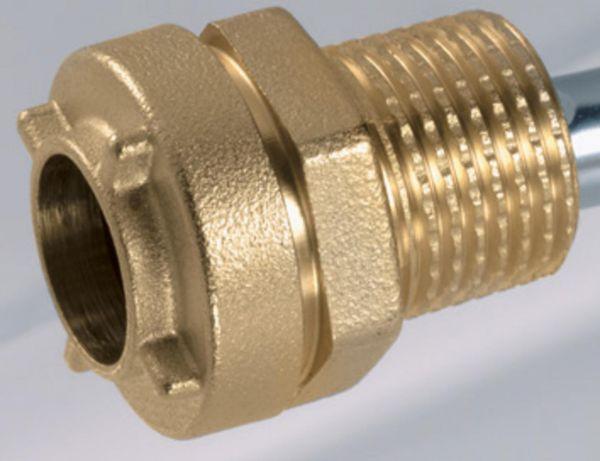Pushfitting vormontiert 1/2'' x 16 mm Kupplung mit Aussengewinde Messing RC1071516 - Bild 1