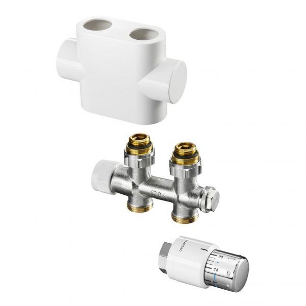 Oventrop Anschluss-Set für Badheizkörper Multiblock T/Uni SH 1/2'' Durchgang weiß 1184183 - Bild 1