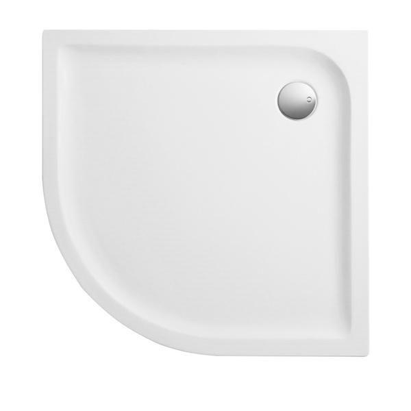 Duschwanne 90x90x3,5 cm Viertelkreis superflach aus Sanitär-Acryl weiß - Bild 1