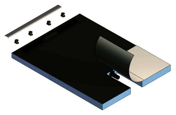 Kermi Komplettboard Line E70 090090 L 900 x B 900 x H 70 mm, Rinnenabdeckung 300 mm - Bild 1