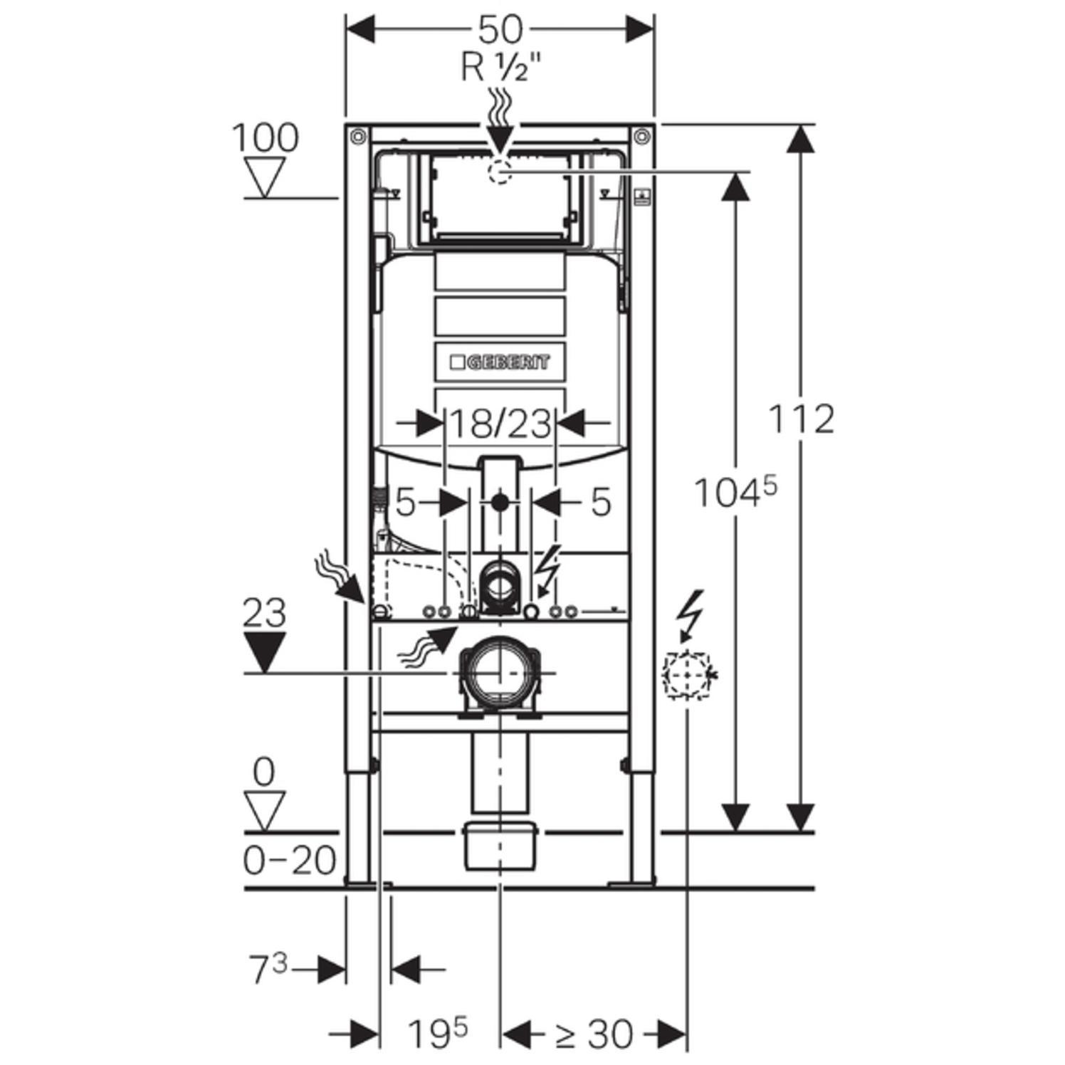 Geberit Duofix UP320 Vorwandelement WC Betätigungsplatte Sigma20 weiß 111300005