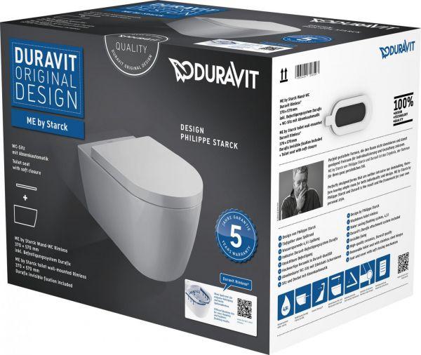 Duravit ME by Starck Wand-WC Rimless Set spülrandlos weiß, mit WC-Sitz und Absenkautomatik - Bild 1