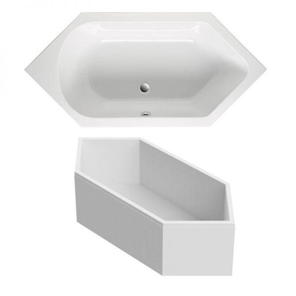 Sechseck-Badewanne 190x90 cm aus Sanitär-Acryl weiß inklusive Styropor-Wannenträger - Bild 1