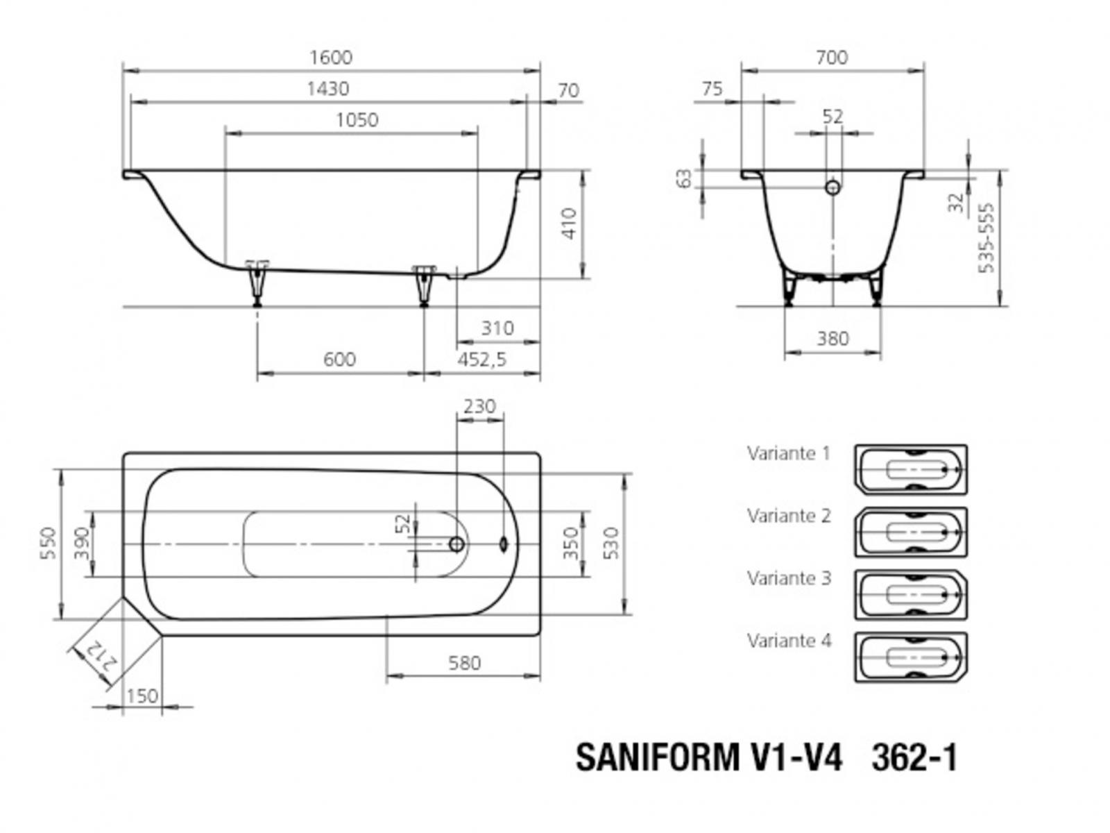 Kaldewei Saniform V20 Badewanne 20x20 cm Modell 200 20 Stahl Email ...