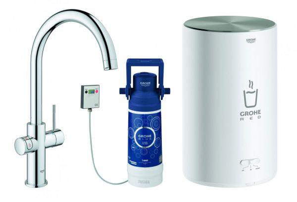 GROHE Küchenarmatur und Boiler Red Duo M-Size C-Auslauf chrom 30083001 - Bild 1