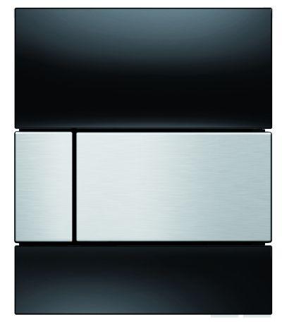 TECEsquare Glas Urinal-Betätigungsplatte schwarz, Tasten Edelstahloptik gebürstet 9242806 - Bild 1