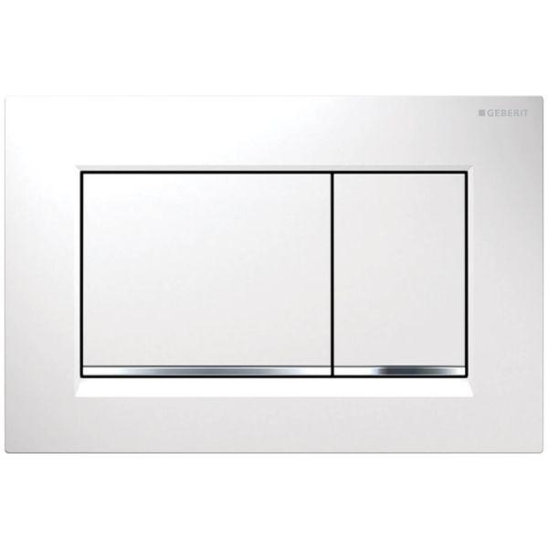 Geberit Sigma30 Betätigungsplatte 2-Mengen-Spülung weiß/hgl.verchromt/weiß 115.883.KJ.1 - Bild 1