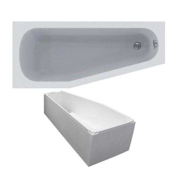 Raumspar-Badewanne 160x70/45x46,5 cm links weiß K276301 inklusive Styropor-Wannenträger - Bild 1