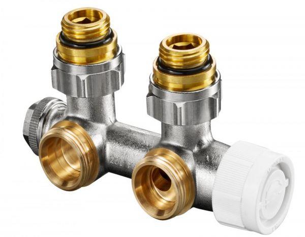 Oventrop Anschlussarmatur Multiblock T 1/2'' AG x 3/4''AG für 2-Rohr Eck 1184084 - Bild 1