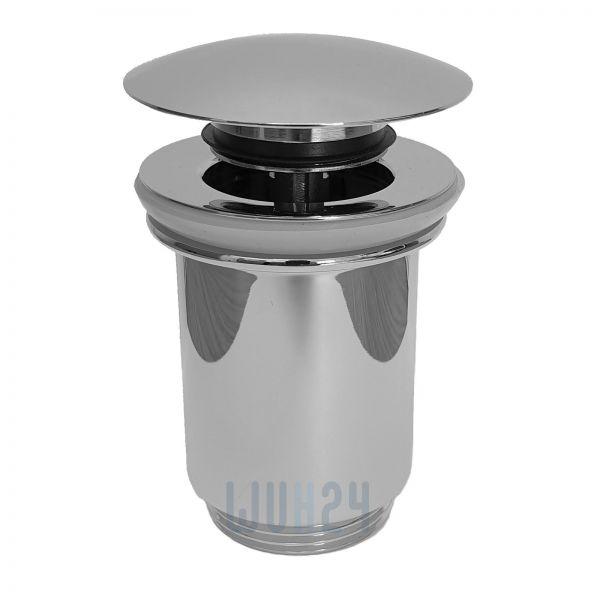 Ablaufgarnitur Push-Open 1 1/4'' aus Metall verchromt, nur für Waschtische mit Überlauf - Bild 1