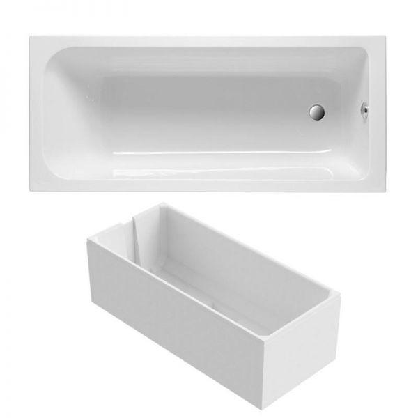 Badewanne 170x75 cm Körperform aus Sanitär-Acryl weiß inklusive Styropor-Wannenträger - Bild 1