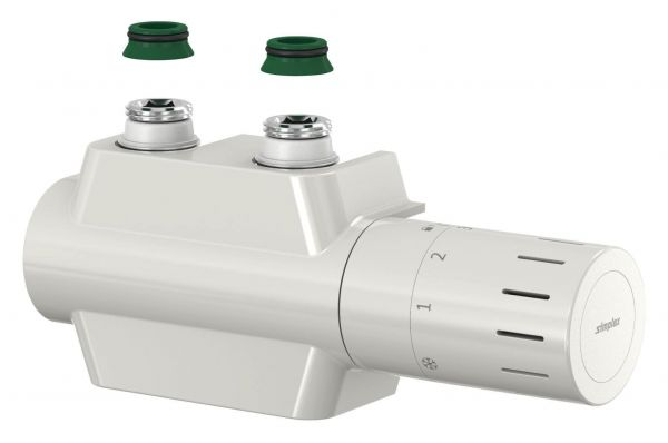 Simplex Ventilhahnblock VARIODESIGN F12160 mit Thermostatkopf TC-D1 und Blende, weiß - Bild 1