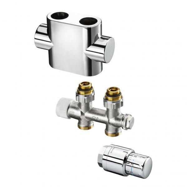 Multiblock-T-Anschluss-Set, Durchgang verchromt, mit Thermostatkopf Uni SH, für Badheizkörper - Bild 1
