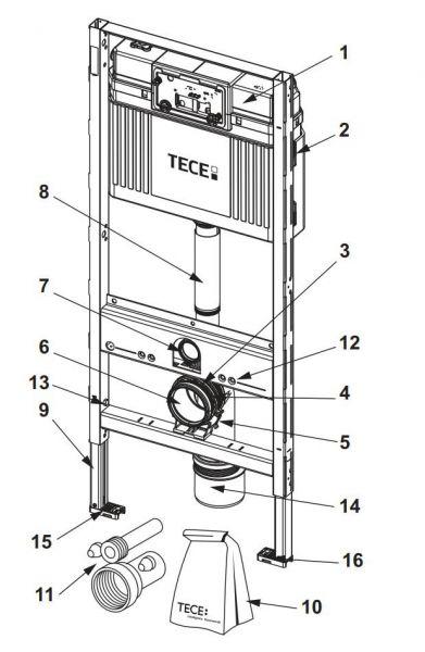TECE verkürztes Spülrohr mit O-Ring Länge 185mm 9820099 - Bild 1