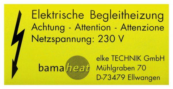 bamaheat Kennzeichnungsschild Elektrisch beheizt 8000-10.47 - Bild 1