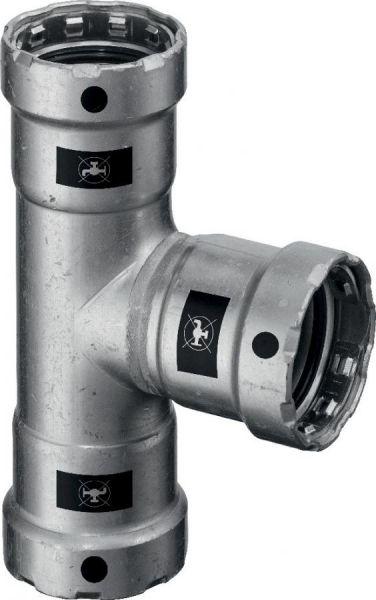 Viega Megapress T-Stück 1 1/4'' x 1'' x 1 1/4'' Modell 4218, Stahl unlegiert, Zink-Nickel 695095 - Bild 1