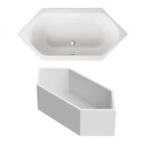 Sechseck-Badewanne 190x90 cm Family aus Sanitär-Acryl weiß inklusive Styropor-Wannenträger - Bild 1