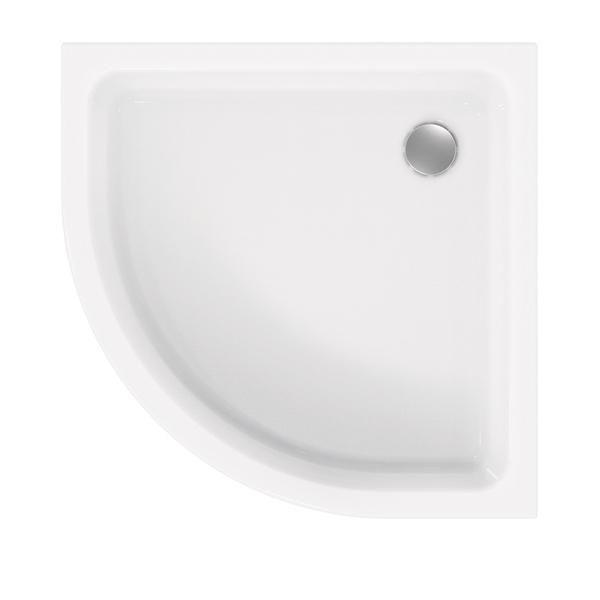 Duschwanne 90x90x6,5 cm Viertelkreis extraflach aus Sanitär-Acryl weiß - Bild 1