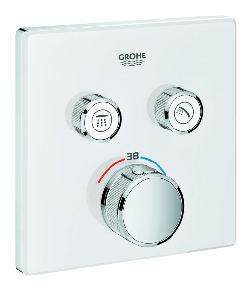 Grohe Thermostat Grohtherm SmartControl 29156 eckig FMS 2 Absperrventile moon white 29156LS0 - Bild 1