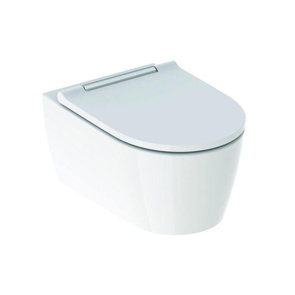 Wand-Tiefspül-WC ONE Turbo Flush mit WC-Sitz weiß/glanzverchromt, KeraTect 500202011 - Bild 1
