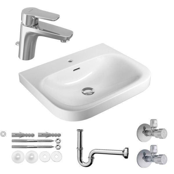 VIGOUR derby Waschtisch-Set 60cm mit Einhand-Waschtischbatterie, Sifon, Befestigung und Eckventile - Bild 1