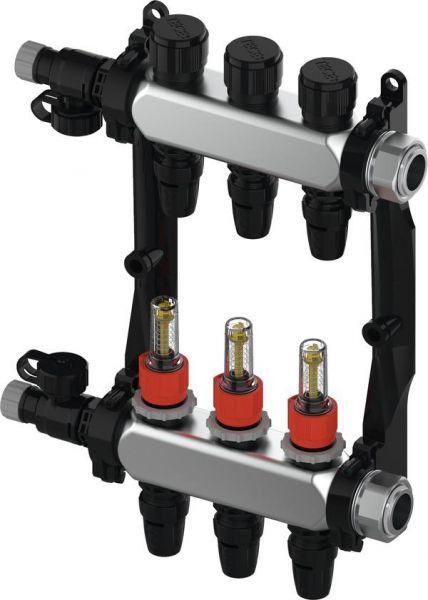 TECEfloor Edelstahl-Verteiler HKV 6, Typ TECElogo-Push, mit DFA, 1'' IG flachdichtend 77311106 - Bild 1