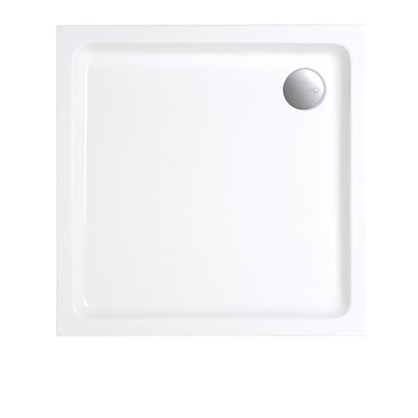 Duschwanne 80x80x6,5 cm quadratisch extraflach aus Sanitär-Acryl weiß - Bild 1
