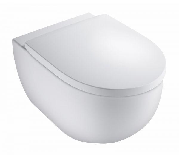 VIGOUR Wand-Tiefspül-WC Set derby rund spülrandlos, WC-Sitz mit Absenkautomatik, verdeckte Befest. - Bild 1