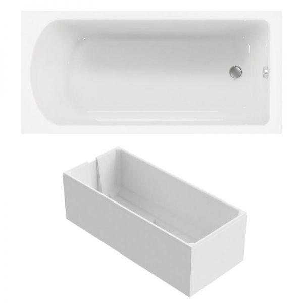 Kombi-Badewanne mit Duschzone 170x80 cm aus Sanitär-Acryl ...