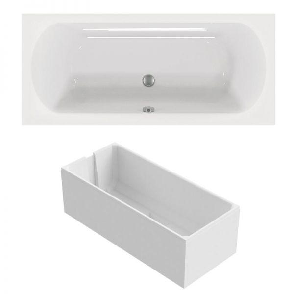 Duo-Badewanne 170x75 cm aus Sanitär-Acryl weiß inklusive Styropor-Wannenträger - Bild 1