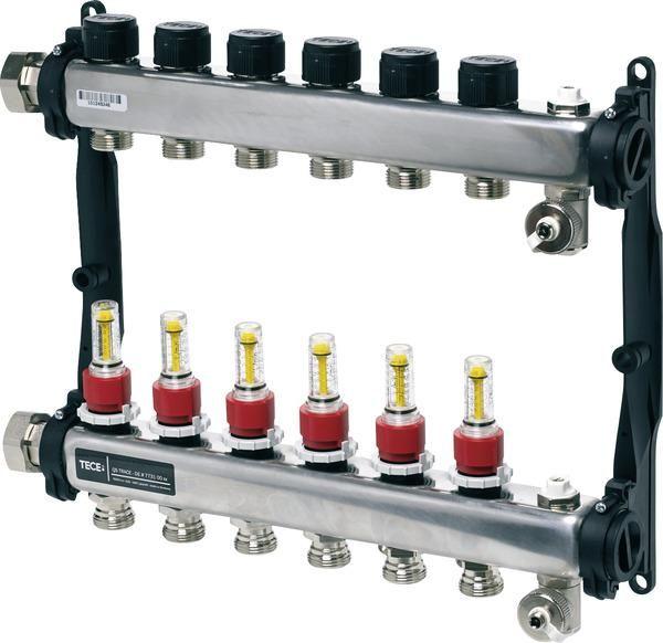 TECEfloor Edelstahl-Verteiler HKV 6 mit DFA SLQ, poliert, 1'' IG flachdichtend 77310006 - Bild 1