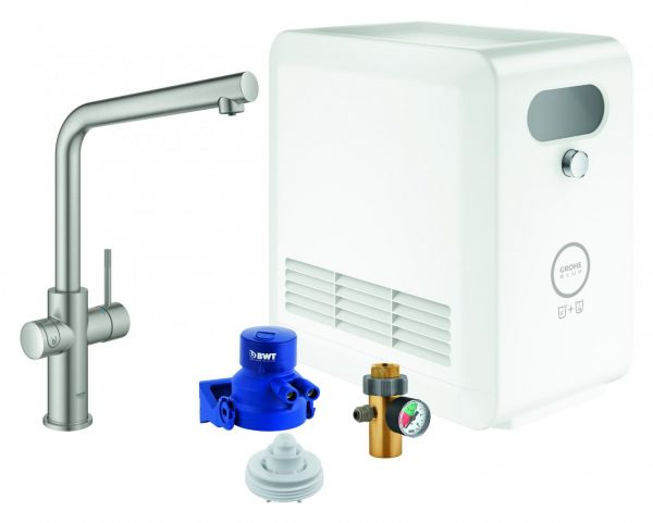 GROHE Blue Professional Starter-Kit Küchenarmatur Bluetooth/WIFI L-Auslauf supersteel 31347DC3 - Bild 1